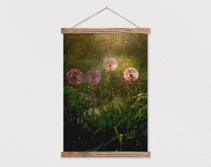 Purple Blooms Canvas Print with Wood Frame Sticks