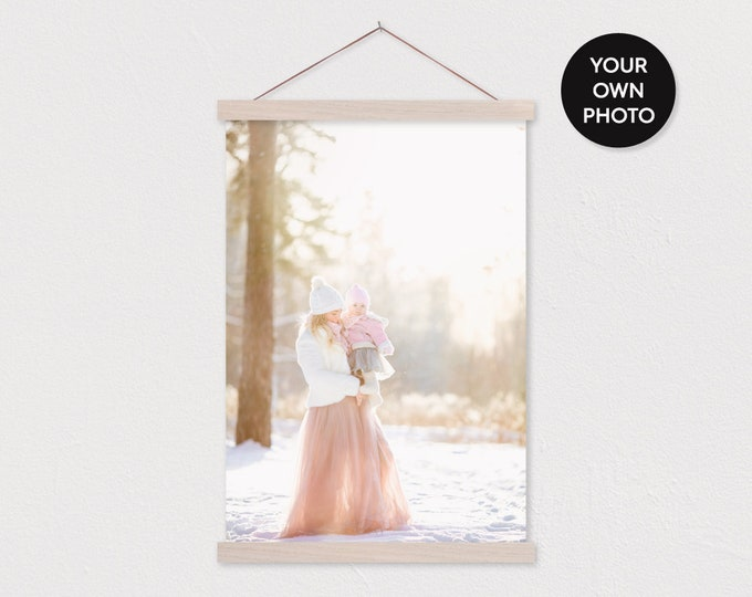 Upload Your Instagram Photo Pix - Canvas Print and White Wood Hanger Frame
