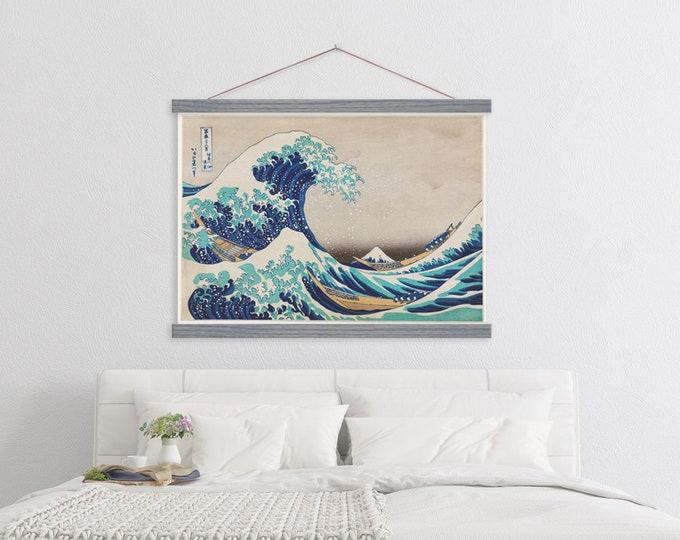 Japanese Wave Vintage 1760 Painting Tenugui with Hanger ART
