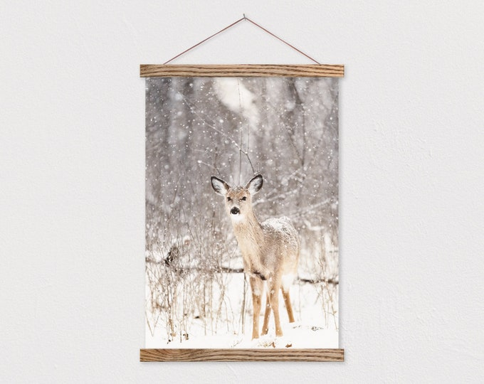 Fawn and Flurries Canvas Print with Wood Magnetic Scroll Frame