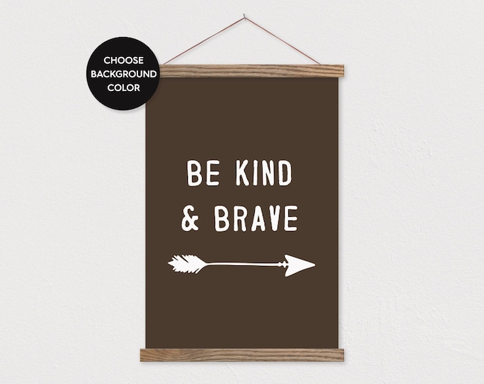 Be Kind & Brave - Boy Nursery Woodland Wall Hanging