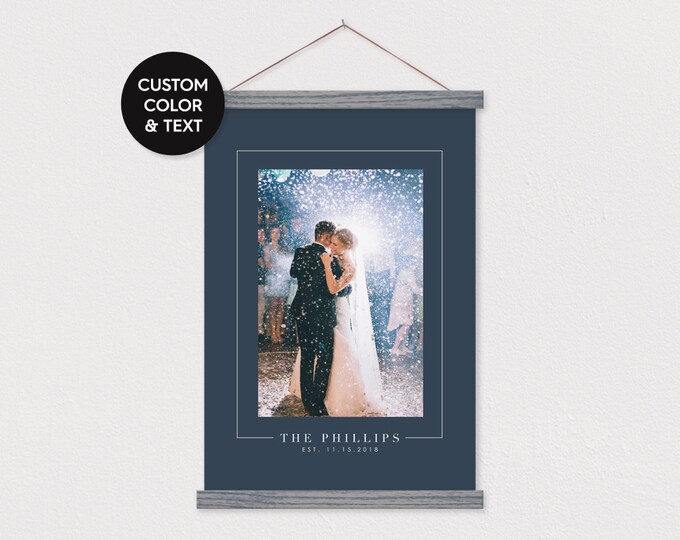 Wedding Photo with Colored Background and Elegant Border & Text and pix