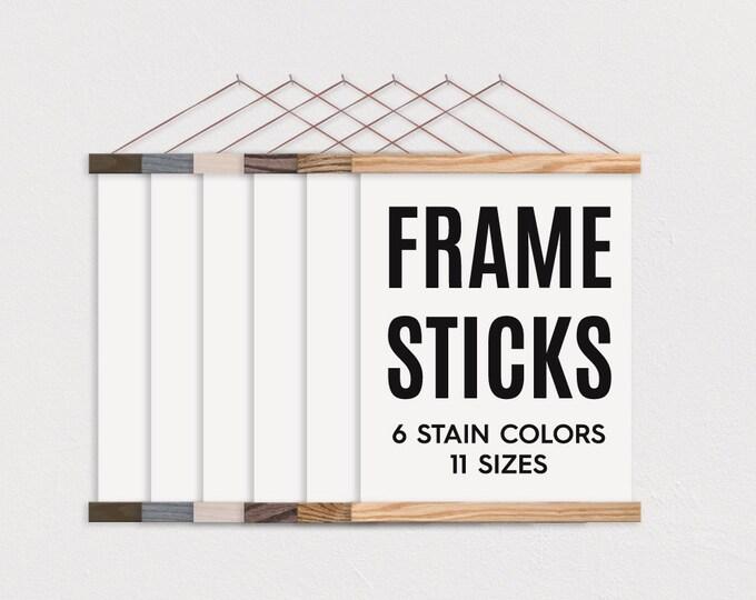 FRAME STICKS™ - Wooden Magnetic Poster Hanger for Framing Art & Pictures- Poster Hanger- Print Hanger- Wall Hanging- Wooden Poster Hanger