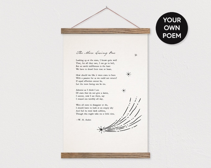 Custom Poem with Stars - Printed on Canvas with Hanger Frame with any Text or Pix