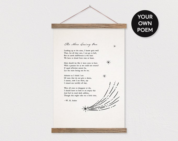 Custom Poem with Stars - Printed on Canvas with Hanger Frame