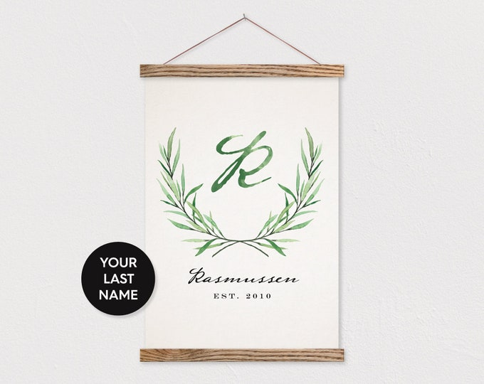 Custom Leaf Laurel with your Last name on Canvas with Wood Magnetic Poster Hanger- Custom Wall Decor Pix- Custom Family Sign- Custom Gift