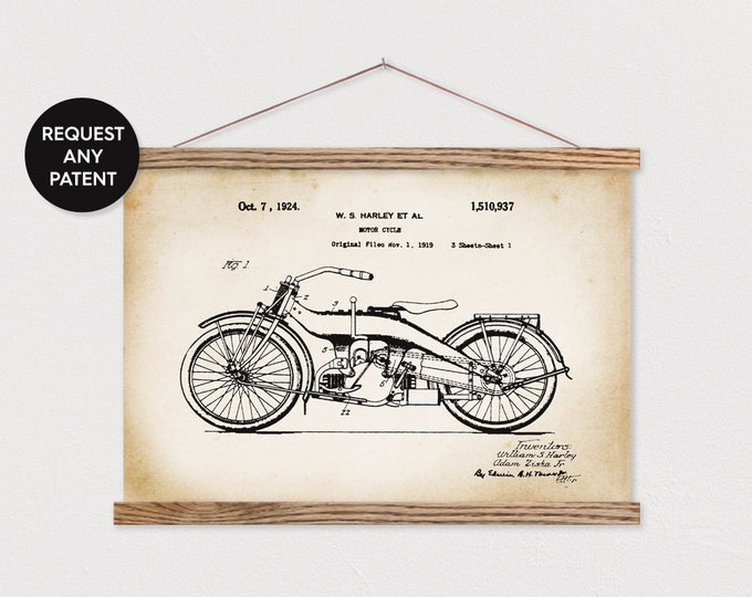 Harley Patent Art Print with Wood Frame Hanger ART