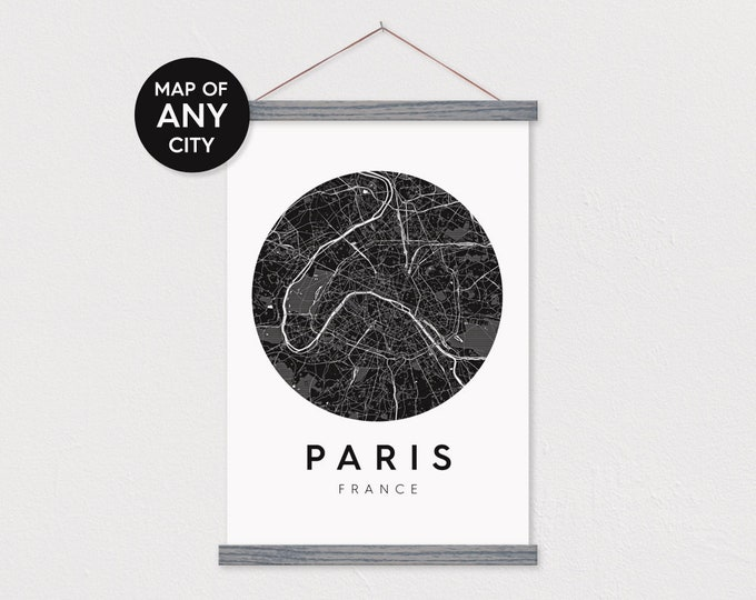 Custom Circle City Map- Canvas Poster with Hanger Frames - Wooden Poster Hanger- Map on Canvas- Map Print- Poster Hanger- Hanger Frames