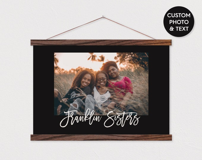 Custom Photo Canvas with Black Background and Any Text or Pix ART