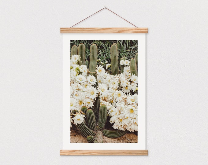 White Flowering Cactus Canvas Print with Wood Magnetic Poster Hanger