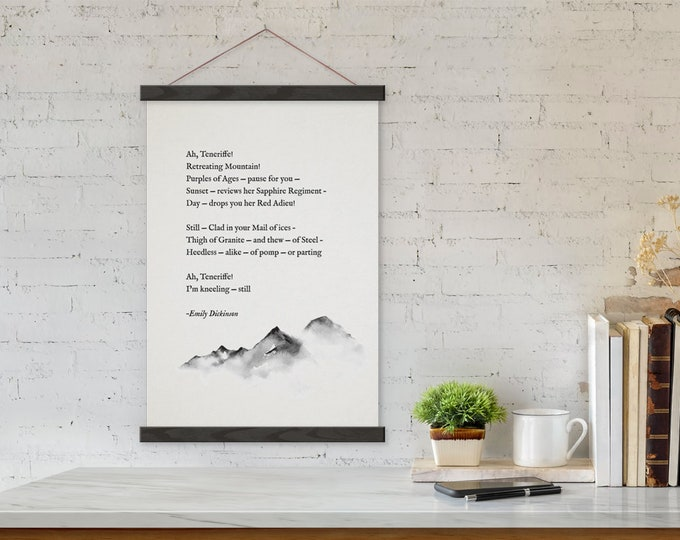 Custom Mountain Poem Art Print on Canvas with Hanger Frames