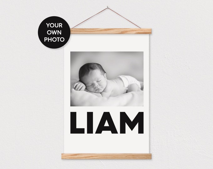 Bold Baby Name Custom Photo Printed on Canvas with Wood Magnetic Poster Frame