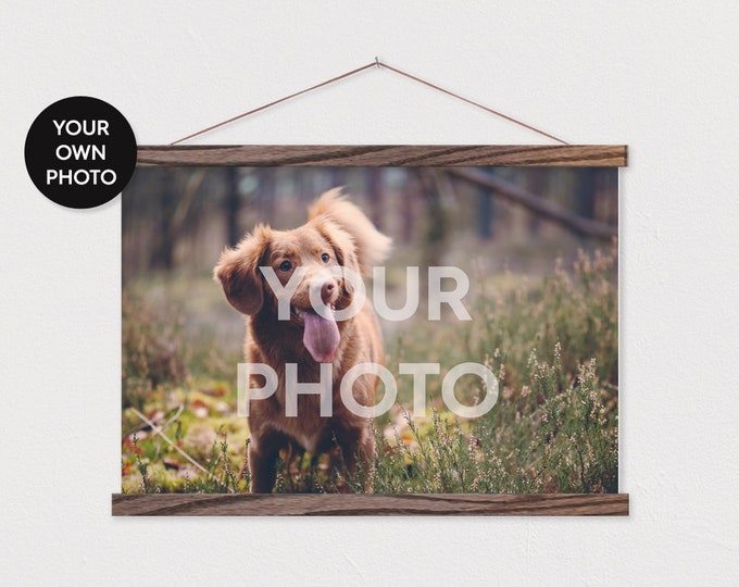 Your own Dog Photo Landscape Printed on Canvas with Wood Magnetic Poster Scroll Frame-Your own Dog Pix Photo-Custom Photo-Vet ART