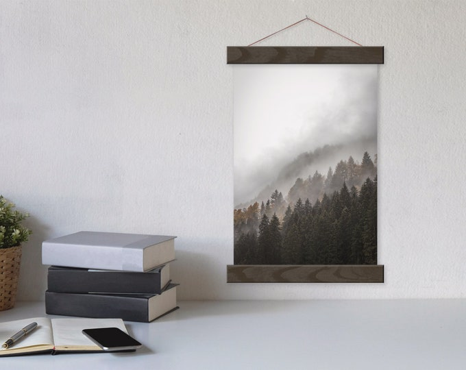 Misty Pines Photo Art Print - Forest Mountain Hanging Canvas