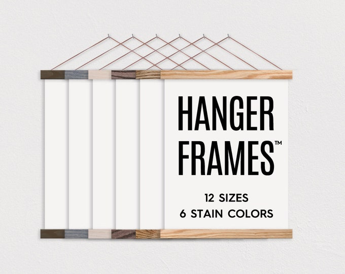 HANGER FRAMES™ - Wooden Magnetic Poster Hanger for Framing Art & Pictures- Poster Hanger- Print Hanger- Wall Hanging- Wooden Poster Hanger