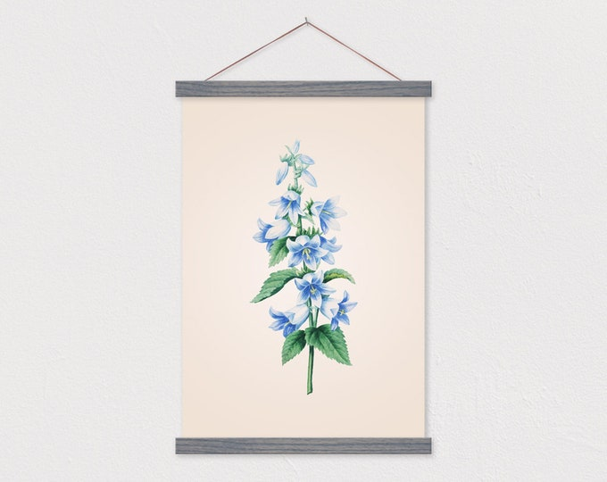 Vintage Botanical Bluebell Canvas Print with Wood Magnetic Poster Hanger