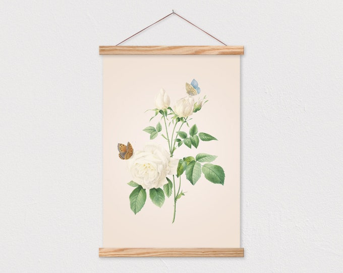 Vintage White Rose with Butterflies Botanical Print with Wood Magnetic Simple Frame