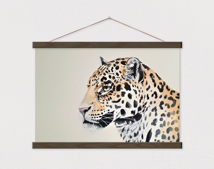Leopard Painting Print on Canvas or Paper with Wood Magnetic Poster Hanger