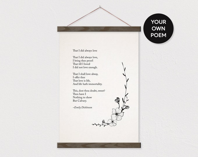 Custom Flower Poem Art Print on Canvas with Hanger Frames - Any words or pix