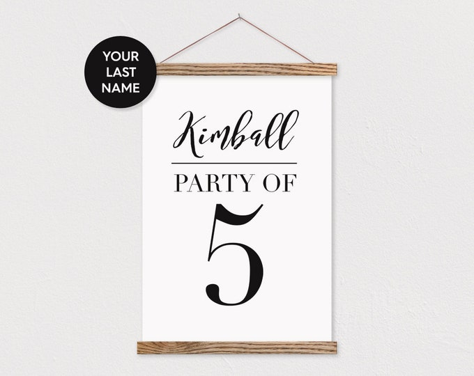 Party of 5 Family Number and Last Name on Canvas with Wood Magnetic Poster Hanger