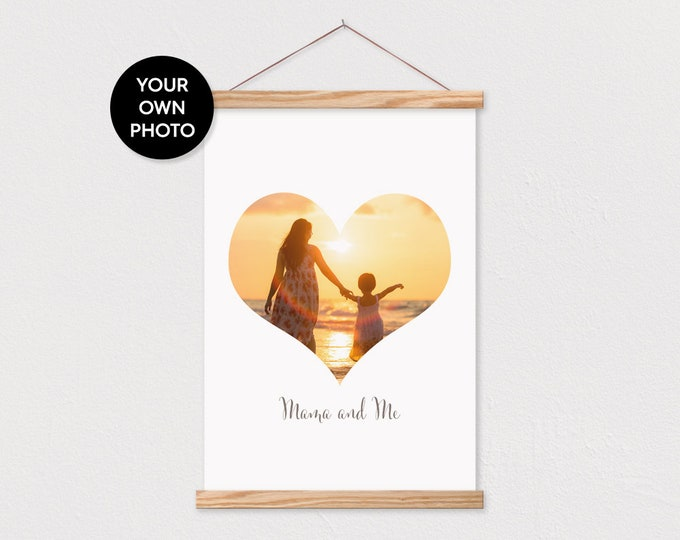 Custom Heart Photo n Canvas with Wood Magnetic Poster Hanger