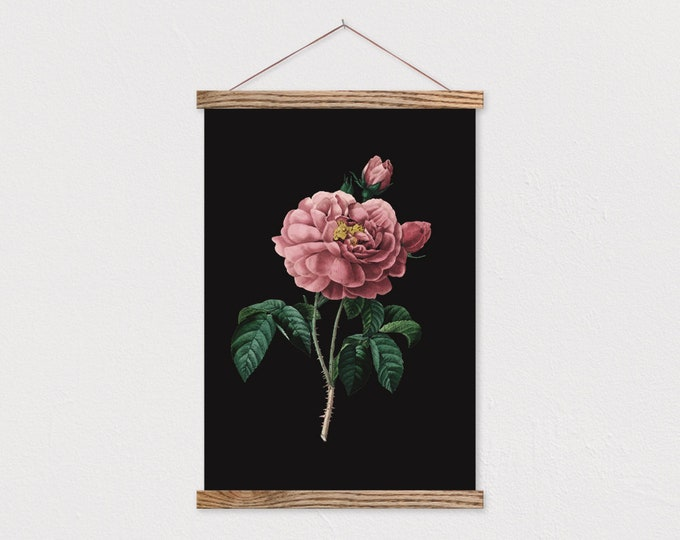 Dark Vintage Botanical Rose Canvas Print with Wood Magnetic Frame Sticks