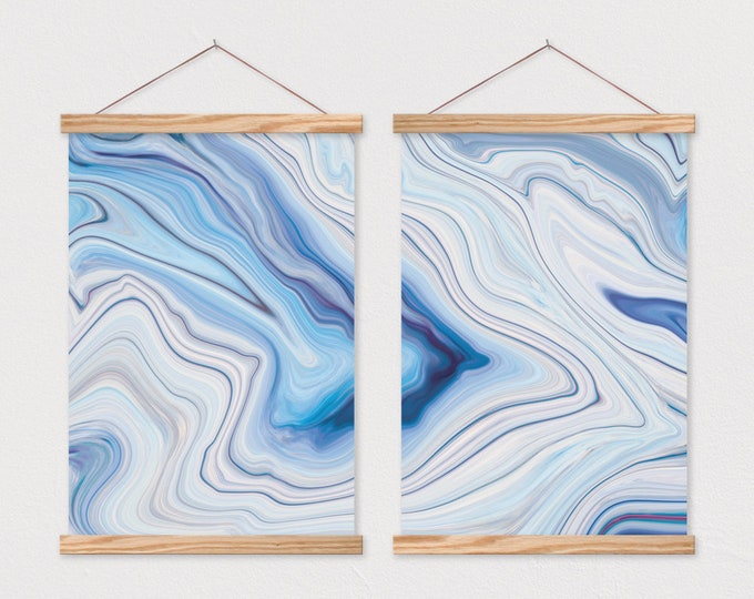 Set of 2 Abstract Blue Agate Waves printed on Canvas with Magnetic Poster Hanger