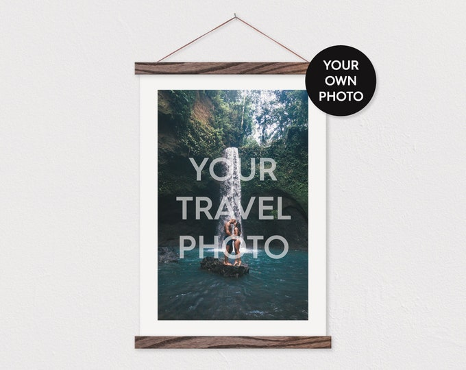 Custom Travel Photo in Portrait Printed on Canvas with Wood Magnetic Frame Sticks