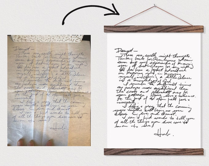 Handwritten Letter Printed on Canvas