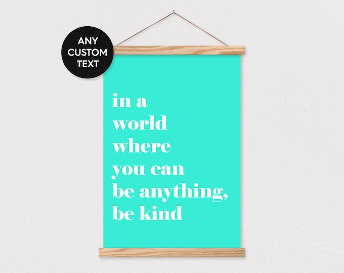 White Text on Colored Background - Any Text or Pix - Quote Wall Art