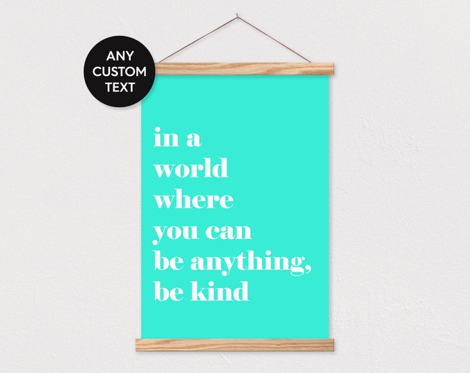 White Text on Colored Background Quote Wall Art