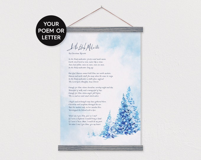 Custom Poem - Blue Winter Pines Watercolor - with Gray Wood Poster Hanger