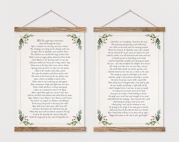 Twas the Night Before Christmas- Set of 2 Canvas Posters with Hanging Wood Frame