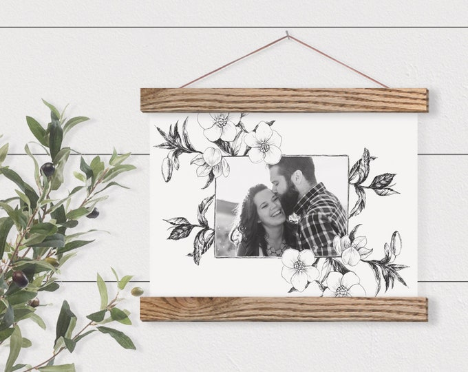Wall Hanging- Delicate Floral Photo Frame - Your Own Photo Pix- Custom Gift-Nursery Wall Hanging- Christmas Gift- Gift for her ART