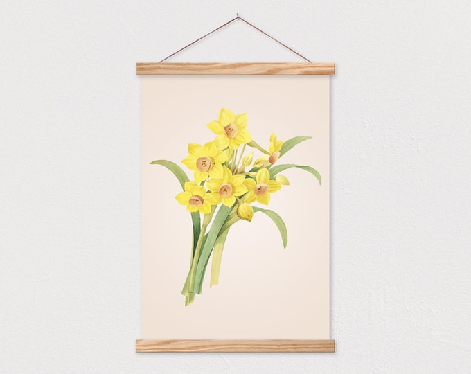 Vintage Botanical Daffodil Drawing Canvas Print with Wood Magnetic Frame