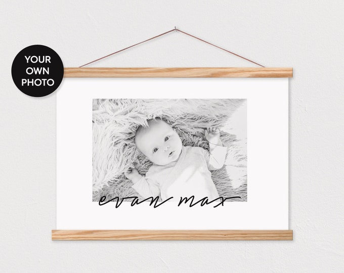 Baby Picture Signature Custom Canvas with Hanger Frame ART - Any words or pix
