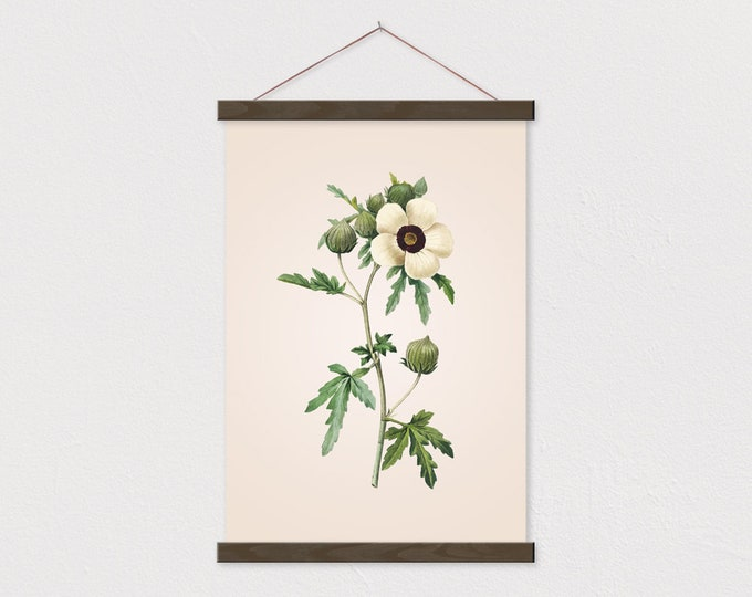 Vintage Botanical White Anemone Canvas with Wood Magnetic Scroll Frame