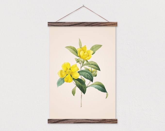 Vintage Botanical Yellow Sundrop printed on Canvas with Wood Magnetic Poster Hanger