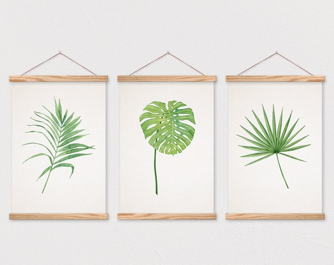 Wooden Poster Hangers- Poster- Set of 3 Tropical Leaf Trio on Canvas with Magnetic Wooden Poster Hanger- Poster Wall Hanging- Poster Frame