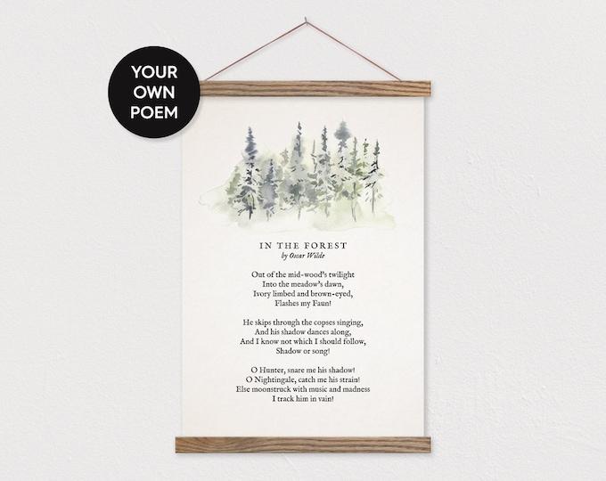 Custom Poem with Forest Tree Art - Hanging Canvas Art Pix
