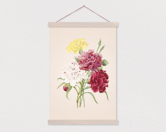 Vintage Botanical Carnation Canvas Print with Wood Magnetic Poster Hanger