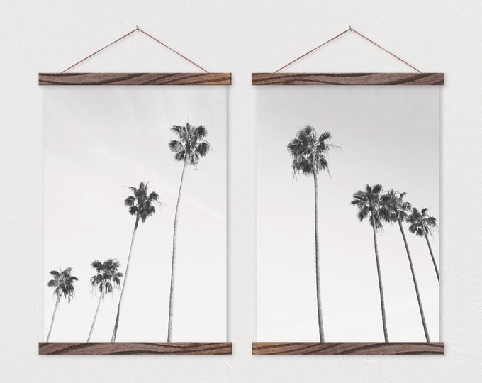 Palm Trees Set of 2 Canvas Posters with Hanging Wood Frame - 11x14, 16x20, 20x30, 24x36