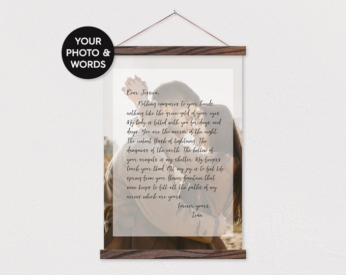 Custom Photo with Poem Or Letter - Framed Canvas Christmas or Anniversary Present - Any Words and Pix