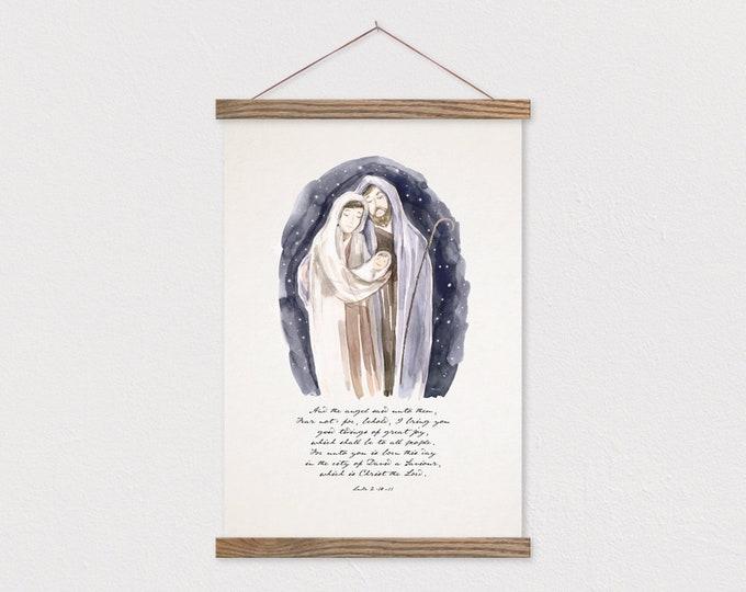 Nativity Watercolor - Mary Joseph Jesus - Luke 2:10-11 Christmas Painting Print