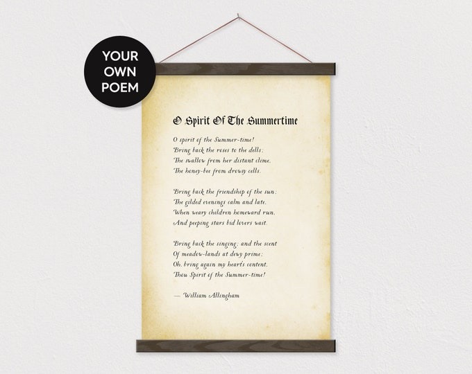 Custom Poem Art Print on Canvas with Hanger Frames with Any words or Pix