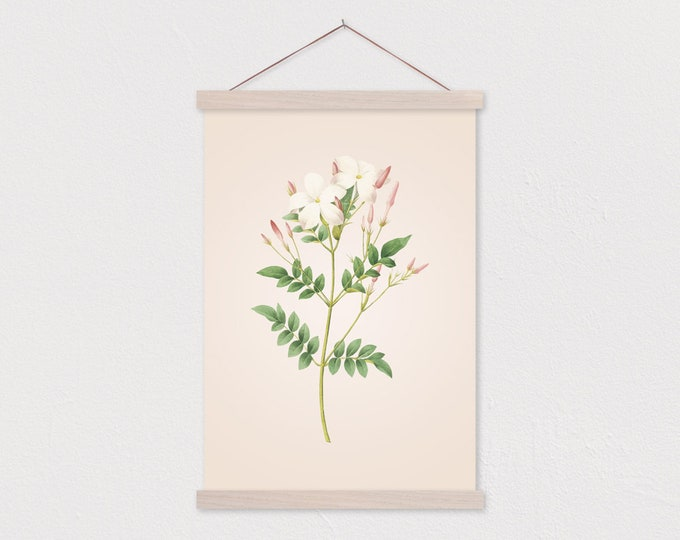 White Wildflower Vintage Botanical Drawing Canvas Print with Wood Magnetic Poster Hanger