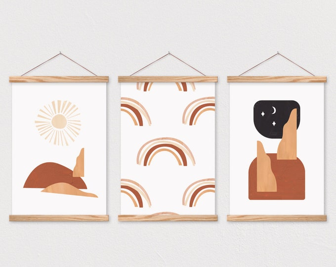 Abstract Shapes Set of 3 - Art Prints with Hanging Frames
