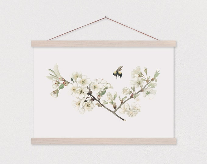 Hanger Frames- Bee Blossom Design Printed on Canvas with Wood Magnetic Poster Hanger- Gift for her- Floral Wall Decor-Canvas Print ART