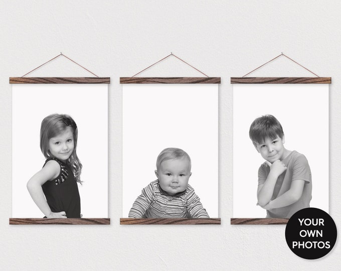 Your own Photo- Set of 3 Canvas Prints -Magnetic Poster Hanger Frames-Little Boys Room- Little Girls Room-Sisters-Playroom Wall Decor-pix