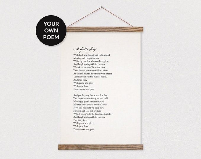 Custom Poem Art Print on Canvas with Hanger Frames - Your own text or pix